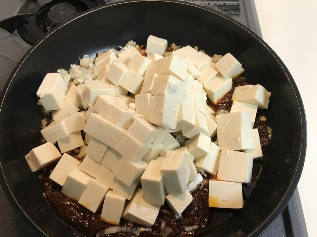 ネギと豆腐投入